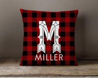 Pillow Cover, Cabin Decor, RV, Camping, Pillow Cover,  Plaid Pillow Cover, Lumberjack Pillow, Check Pillow, Buffalo Check Name Initial Two