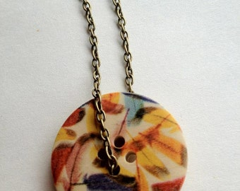 Cruelty Free Feathers Button Necklace