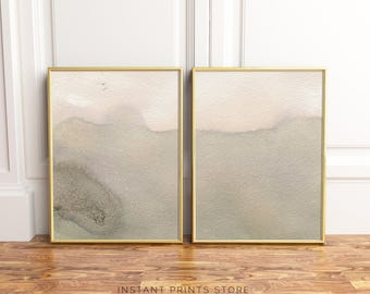 Set of 2 Beige Prints Minimalistic Modern Art Printable Poster Cream Natural Taupe Neutral Brown Artwork Contemporary Home Wall Decor
