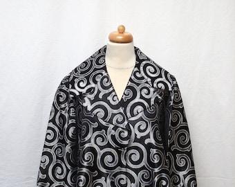 1950s Vintage Jacquard Jacket / Black & Silver Scroll Cropped Jacket
