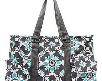 Embroidered Charcoal Gray Quatro Vine Utility Tote-Embroidered Utility Tote-Monogram Utility Tote-Personalized Tote-Monogram Carry All Bag