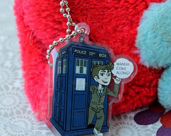 Doctor Who - the Doctor and the Tardis keychain charm