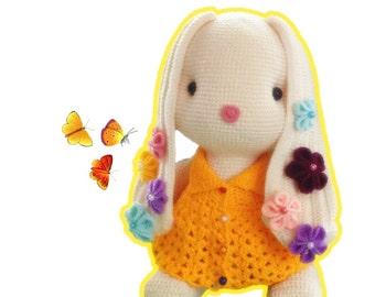 Flower bunny 22inches - amigurumi crochet pattern