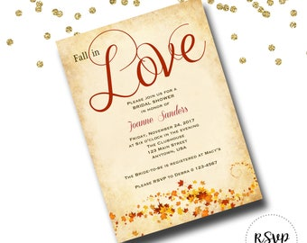 Fall in Love Bridal Shower or Wedding Invitation/Save the Date/Engagement Announcement