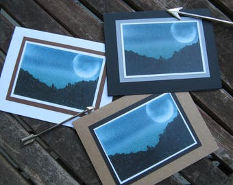 Greeting card - Dusk, mountain card, blank card, landscape, watercolour card