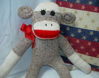 Traditional Classic Brown Red Heel  Sock Monkey Doll