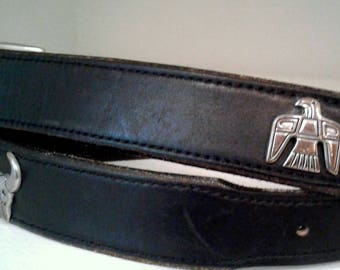 SW style leather belt, silver animals, vtg black leather, USA made, size 38