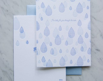 With You Through the Rain, Sympathy card, Letterpress Grief Card, Mourning