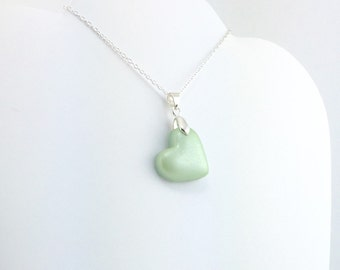 Light Green Heart Pendant - Simple Heart Necklace - Light Green Heart Necklace  - Wedding Jewelry, Bridesmaid Necklace - MADE to ORDER