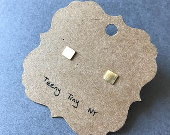 Gold Matte Brushed Square Stud Earrings -  Gold plated over Sterling Silver [GME1012]