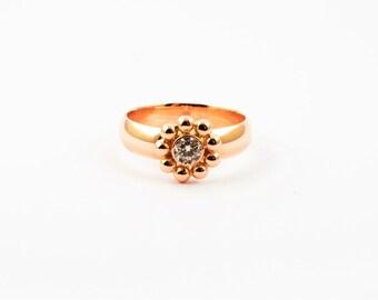 Sold. Gold ring 585 diamond ring handmade ring