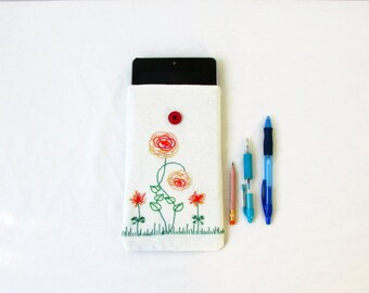 CLEARANCE Kindle case, Nexus 7 cover, floral hand embroidery, kindle touch, paperwhite or fire, Valentines gift, handmade in the UK