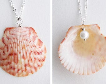 Reversible Large Scallop Seashell Pendant Necklace - Dark Pink with White Pearl - Natural Shell Jewelry