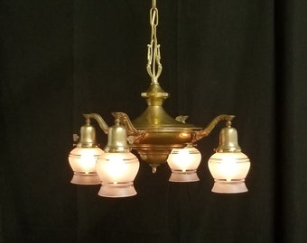 Four Light Vintage Ceiling Pan, Brass Hanging Light, Pendant Light