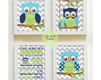 Owl Wall Art - Nursery Art - You are My Sunshine Prints for Nursery or Kids Room,  Baby Nursery Decor, set of four Prints