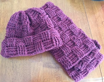 Crocheted Basket Weave Hat and Scarf Set - Warm and Cozy
