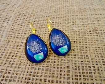 Potted Plant Glass Photo Cabochon Earrings
