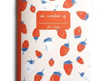 Grid Notebook | Strawberry A5 Notebook, Pink Notebook, Cute Notebook, School Notebook