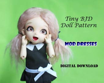 Mod Dress Girl Doll clothes outfit pattern for Tiny BJD: PukiFee Lati Yellow & similar sized dolls