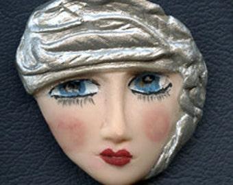 Polymer  Clay  Silver Highlighted Art Nouveau Goddess Cab  NANF 1