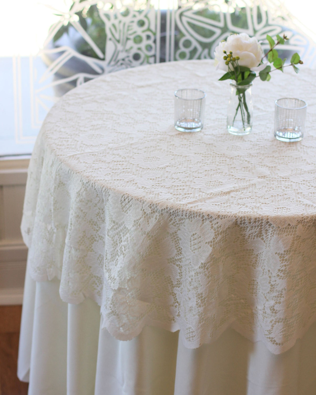 ivory lace tablecloth 60 inches round lace table overlays. Black Bedroom Furniture Sets. Home Design Ideas