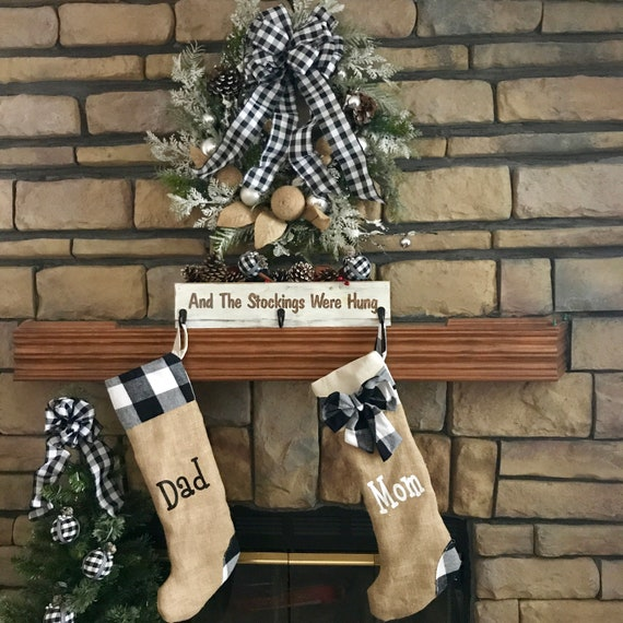 Christmas Decorations, Christmas Stockings, Christmas in July, Christmas Decor, Buffalo Plaid Christmas, Farmhouse Rustic Decor, Monogrammed
