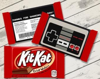 NES Kit Kat Candy Bar Label/Wrapper - Video Game Party Favor, Nintendo, Retro Gamer   D.I.Y. Editable Text INSTANT DOWNLOAD Printable