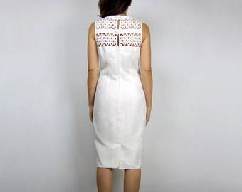 80s White Dress Womens Vintage Clothing Lace Back Pencil Dress Simple Wiggle Dress Jackie O Minimalist Dress - Medium to Large M L