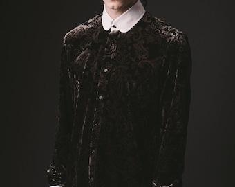 Mens Velvet Tulip Collar Paisley Shirt