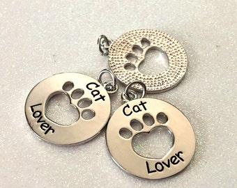 """3 - """"Cat Lover"""" pendants, Cat Paw Charms, Cut out Paw Necklace, Charm Bracelet Charm, Pet Friend charm, cut out paw charm"""