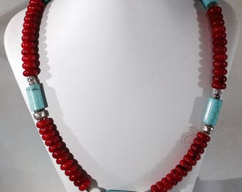 Coral, Turquoise and silver necklace