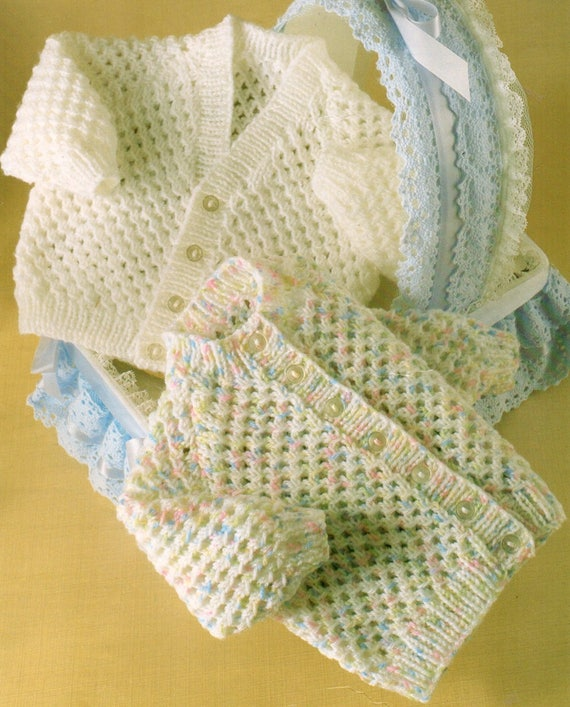 Baby Knitting Pattern pdf Double Knit Lacy Cardigans