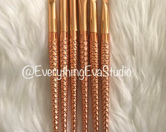 6 Mermaid Makeup Brush Set (Eyes)-Rose Gold Makeup-Makeup Set-Makeup Brushes-Gift for Girl-Womens Gift-Birthday Gift-Bridesmaid Gift For Her