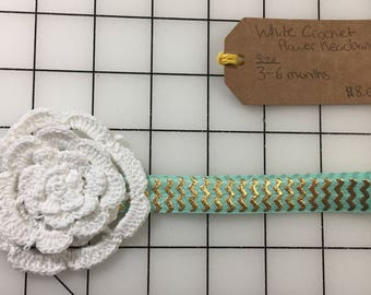 White Crochet Flower Baby Headband
