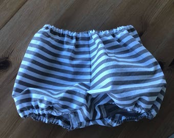 Gray and White Striped Diaper Cover/Bloomers (Newborn, Infant, Toddler, Photo Prop)