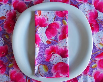 Lavender Napkins (4) with Pink Flowers, Floral Napkins, Purple Napkins, Pink Napkins, Large Napkins, Cotton Napkins, Memory Lane