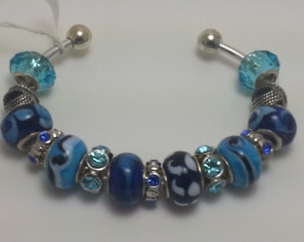 Blue glass/crystal bracelet.