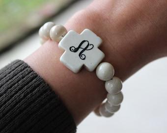 Monogrammed  Bracelet, Initial stretch Bracelet, Stackable Bracelet, White Turquoise Beads