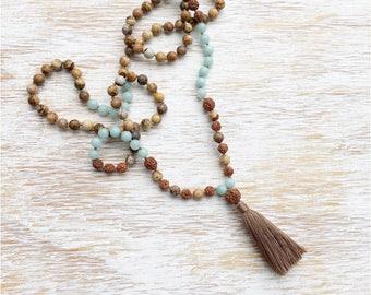Amazonite Mala Necklace, Amazonite Mala Beads, Jasper Mala Bead Necklace, Mala Beads 108, Rudraksha Mala, Mala Necklace 108 Buddhist Jewelry