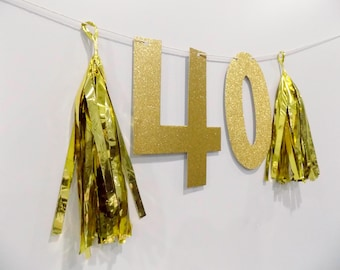 40th Birthday Glitter Numbers & Tassel Banner for forty Birthday Party, Photobooth Banner 16th 18th 21st 40th 50th 60th Gold Silver