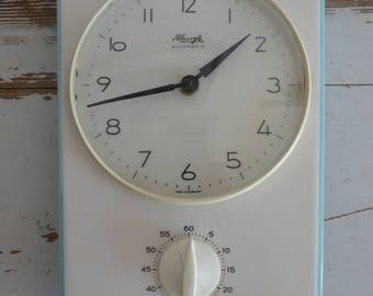 Kienzle kitchen clock Küchenuhr blue frame timer + clock vintage wall clock 60s