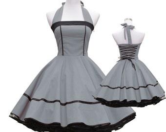 50's vintage dress full skirt black grey classic design design lace back custom made Retro