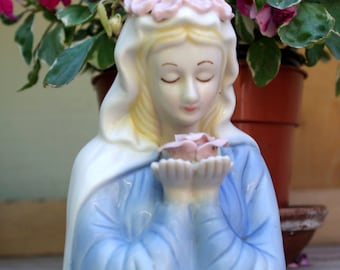 Lovely  Hand Painted Madonna Porcelain Bust Figurine