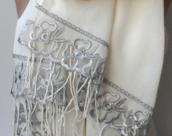 Silver Gray French Lace in Cream/Ivory Shawls Lace Scarf Fashion Dainty Bridesmaid shawls Elegant Romantic Wedding Bridal Soft touch