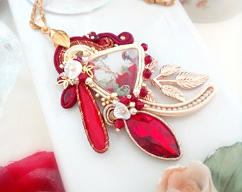 Soutache pendant, red pendant with handmade cabochon and crystals, hand-embroidered, with mother of pearl, long necklace, STATEMENT JEWELRY