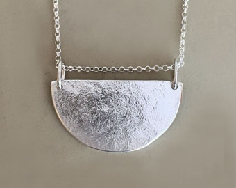 Semicircle Necklace in Sterling Silver, Pebble Textured, Minimal, Modern