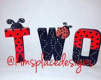 Ladybug birthday Party, Lady Bug Letters, Paper Mache Letters, Hand Painted Letters, Ladybug Photo Prop, TWO
