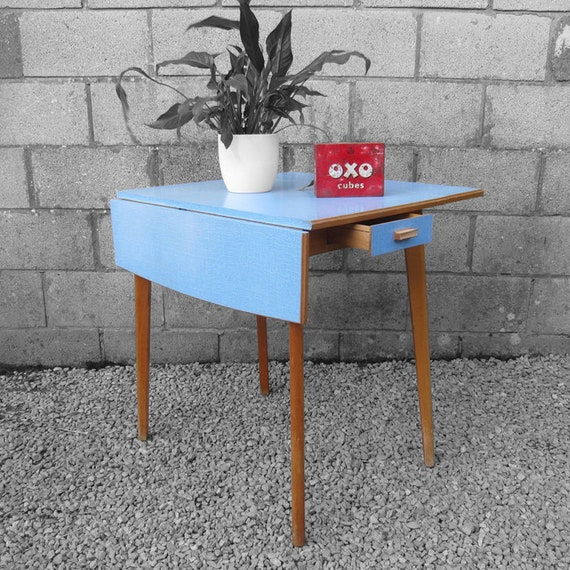 Vintage Mid Century Blue Formica Kitchen Dining Table