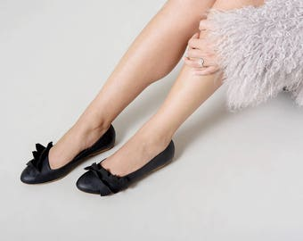 Black ballet flats leather handmade