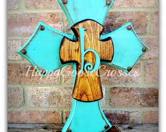Wood Cross - Large Standing Cross - Antiqued Turquoise and Stain with initial (can be made in any colors)